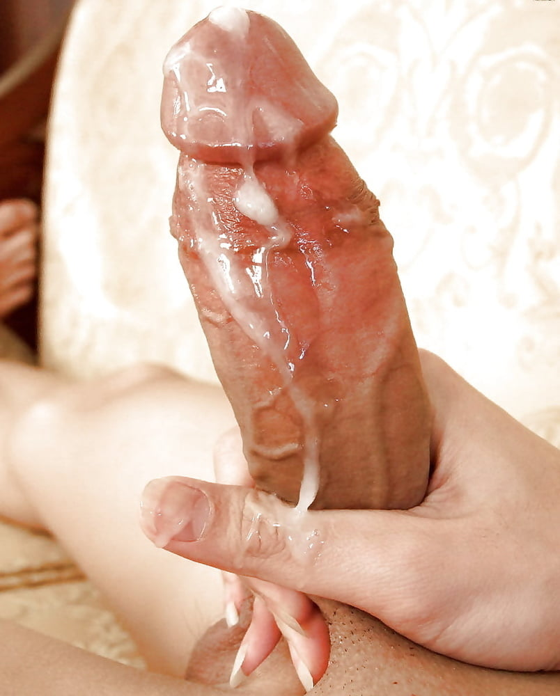 Making his huge cock cum