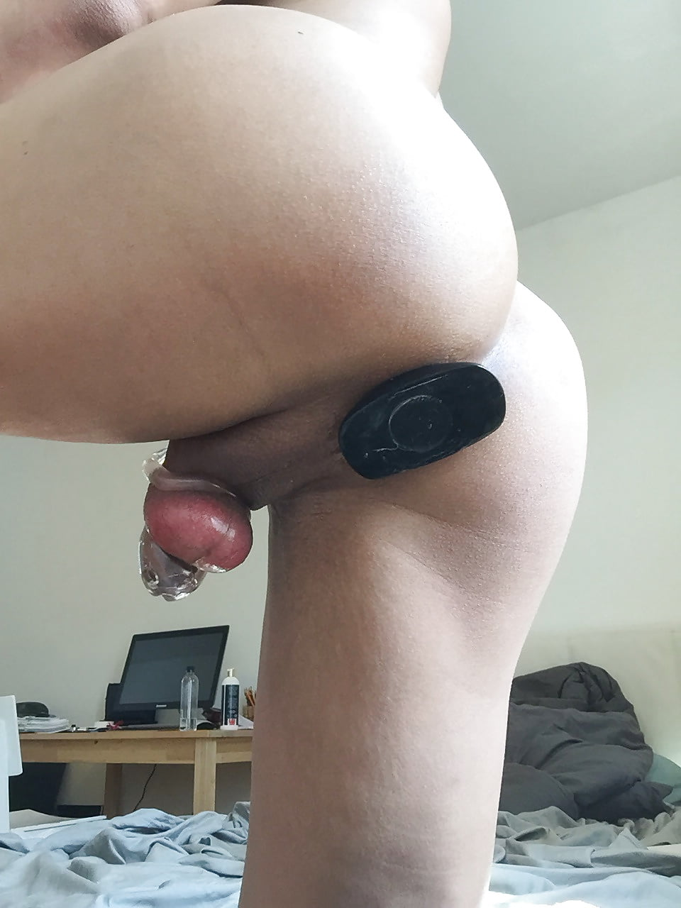 Guy shoves anal plug up ass #1