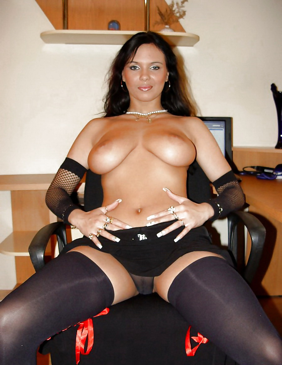 Busty milf in crotchless black wolford pantyhose