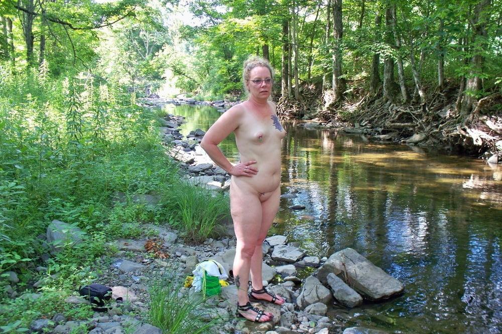 Nudist drinking