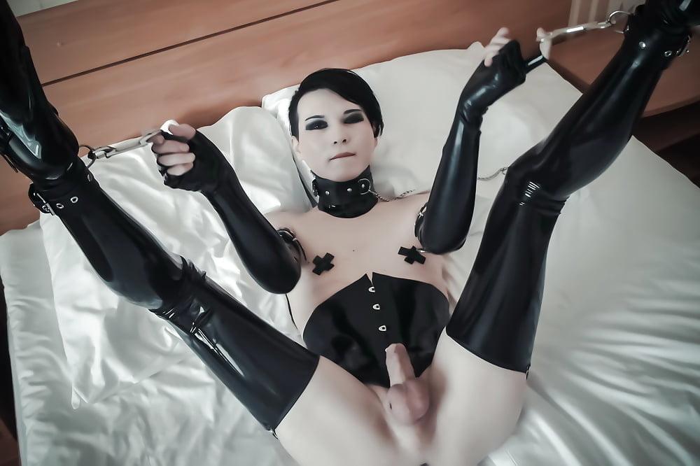 Sissy latex catsuit bondage