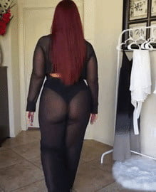 Asses in see through and chaps