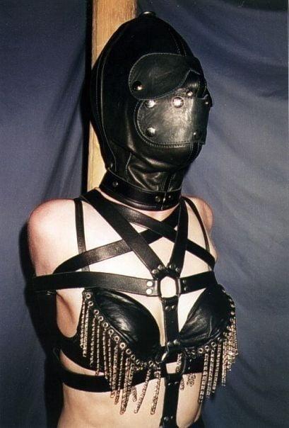 Women leather hood bdsm