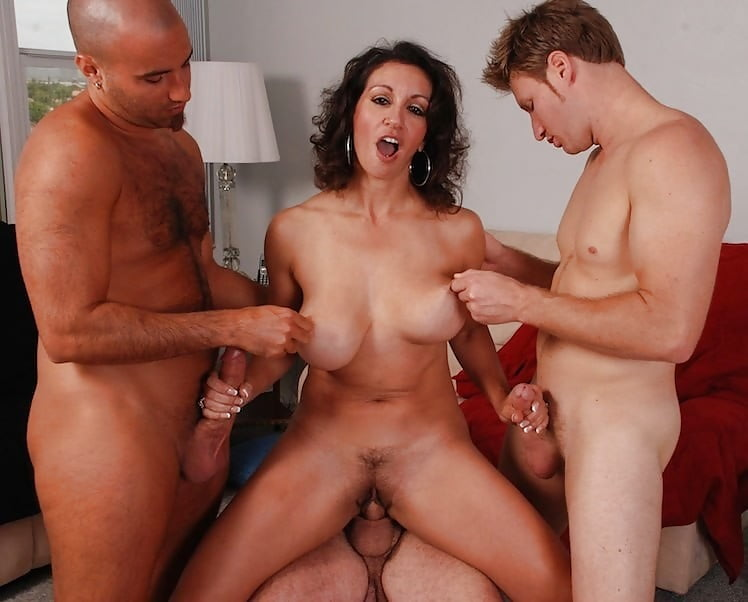 Extremely hot brunette milf gets banged by son's friend