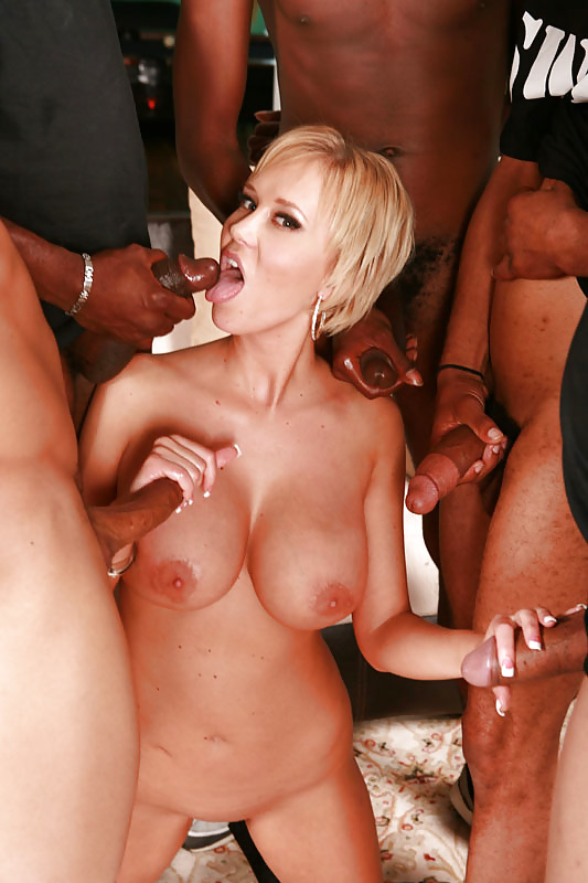 Blonde big breast gangbang