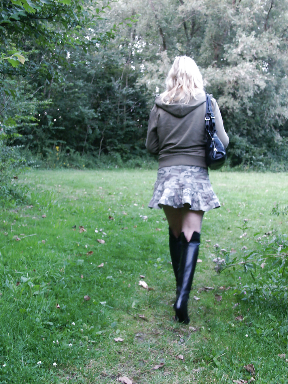 My black leather high heel boots